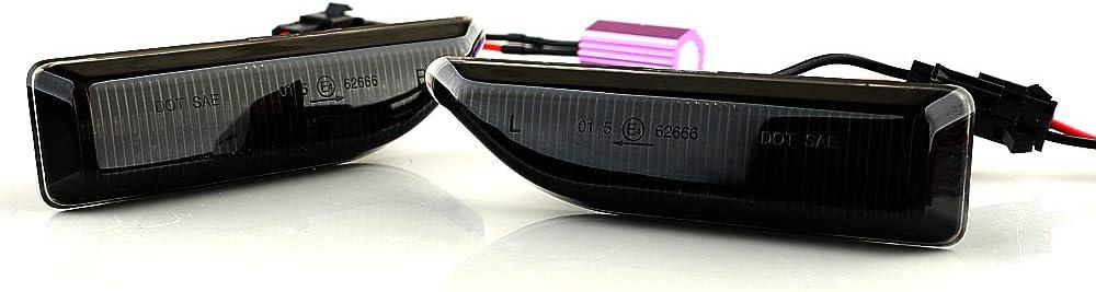 Lot de 2 clignotants LED clignotants lat/éraux clignotants ailes clignotants dynamiques sans message derreur avec homologation E4 Black Vision V-173319LG