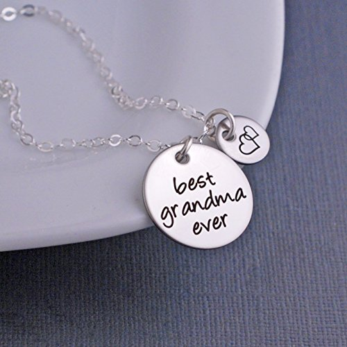 Silver Best Grandma Ever Necklace, Christmas Gift for Grandma Jewelry with Heart Charm