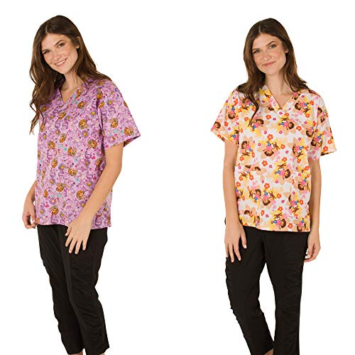 (Nickelodeon Scrubs Shirt/Top Two Pack(Large, Dora Light Pink/White) )