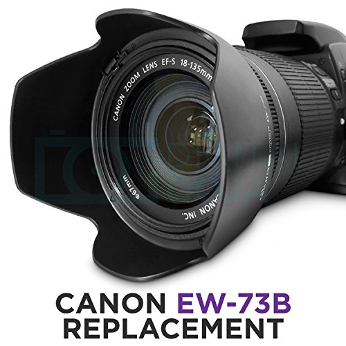 Fits Canon EF-S 18-135mm Nano USM Only JJC Reversible Lens Hood Shade EW-73D Replacement for Canon EF-S 18-135mm f//3.5-5.6 is USM Lens on Canon EOS 80D 7DM2 Camera