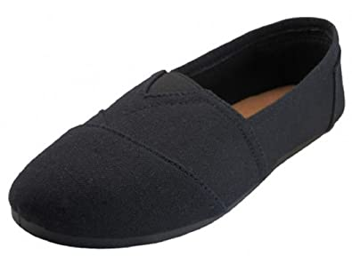 2bb3d6ff7f EasySteps Women's Canvas Slip-On Shoes with Padded Insole, All Black, 5 B