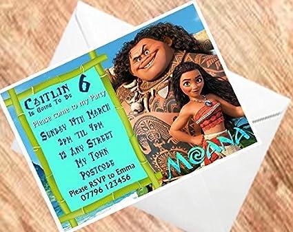 Moana Birthday Invitations Personalised Party Invites 250GSM CardA5 15 Amazoncouk Kitchen Home