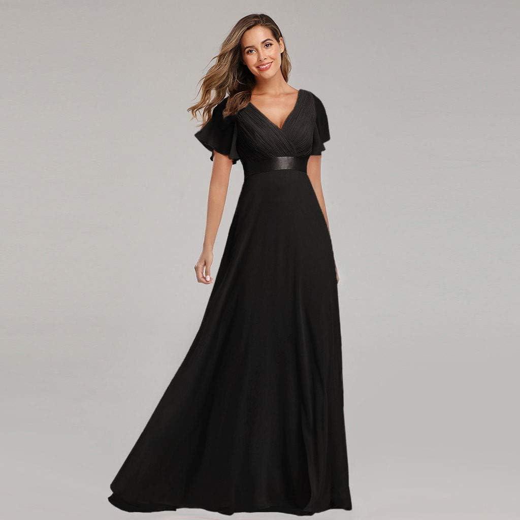 Aoogo Damen A-Linie V Ausschnitt Brautjungfer Abendkleider Elegant