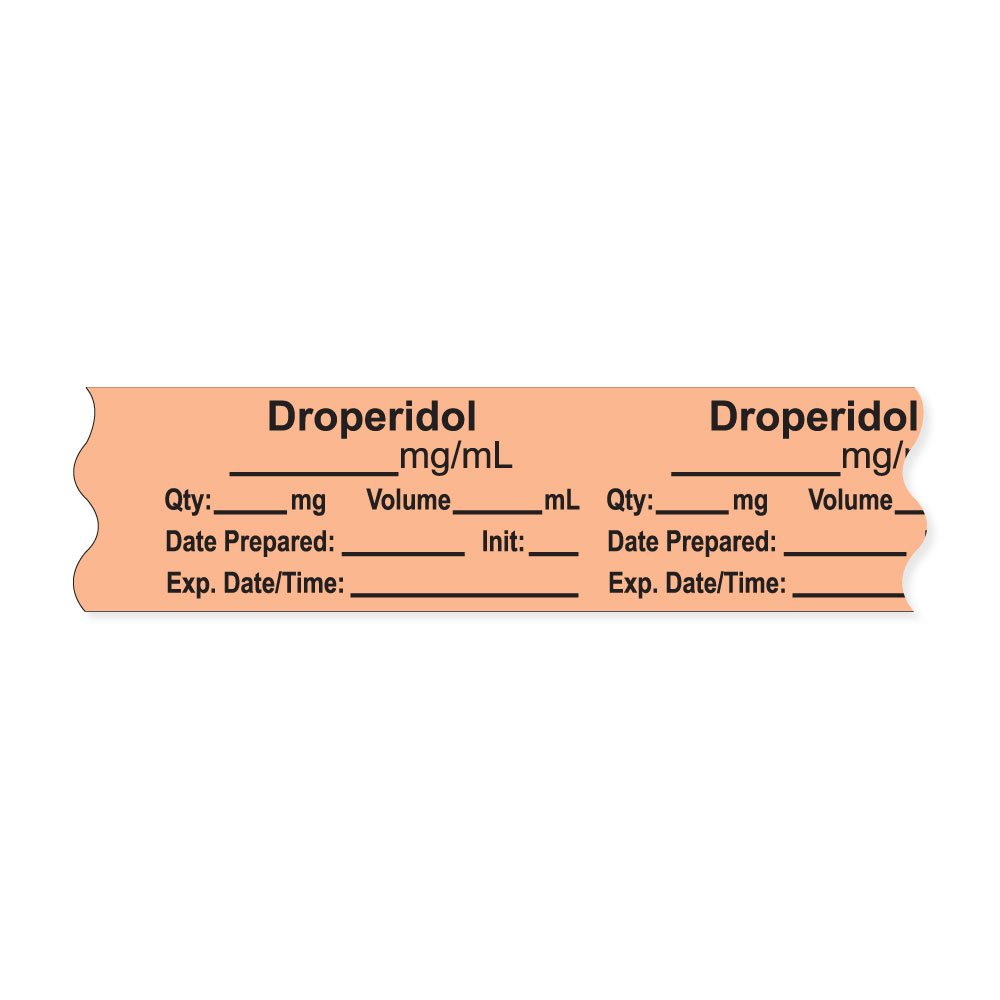 PDC Healthcare AN-2-4 Anesthesia Tape with Exp. Date, Time, and Initial, Removable, ''Droperidol mg/mL'', 1'' Core, 3/4'' x 500'', 333 Imprints, 500 Inches per Roll, Salmon (Pack of 500)