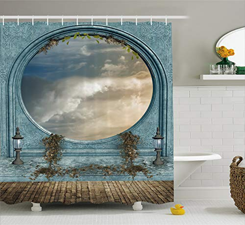 Ambesonne Landscape Shower Curtain, Antique Ancient Round Shaped Window Balcony with Grey Clouds, Fabric Bathroom Decor Set with Hooks, 70 Inches, Light Grey and Blue Grey (Windows Bathroom Round)