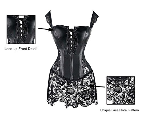 Corset Kimring With Lace Skirt Faux Leather Gothic Schwarz Women's Bustier Steampunk
