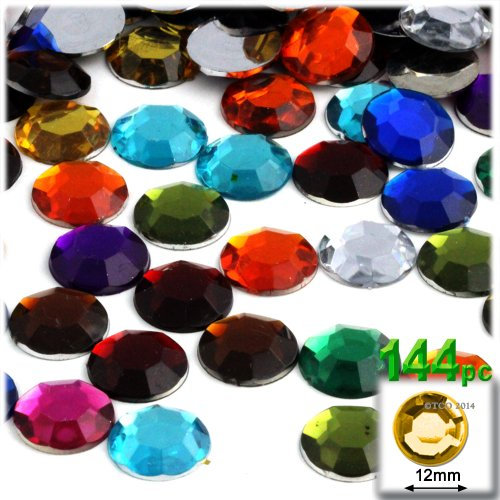 The Crafts Outlet 144-Piece Round Rhinestones, 12mm, Jewel Tone - Rhinestone Jewel Tone