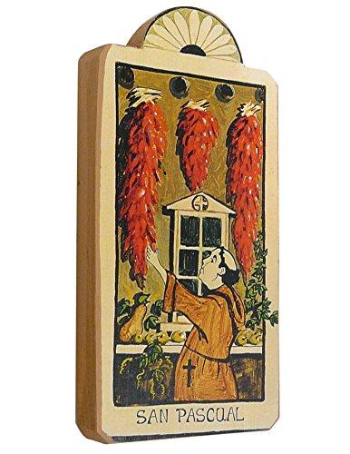 - Modern Artisans San Pasqual Patron Saint of Kitchens Handmade Retablo Plaque, 3.5 x 7.25 Inches