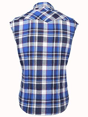 Chemise Nutexrol Regular Coton S amp;blanc Carreaux À Sans Gilet En Manches Homme Fit Bleu 3xl qZdwrTzqx