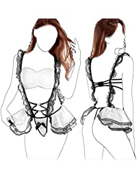 Womens Sexy Lingerie Set French Maid Costume Lace Cosplay Uniform Outfits