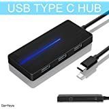 USB Type C Hub 3.0 USB Splitter 3 Port USB 3.0 Hub with SD TF Card Reader Ultra Slim for Laptop Ultrabook (Black)