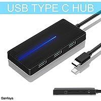 USB Type C Hub 3.0 USB Splitter 3 Port USB 3.0 Hub with SD TF Card Reader Ultra Slim for Laptop Ultrabook (Black)