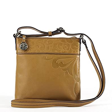 b573a35e73 Image Unavailable. Image not available for. Color  Enesco Jim Shore Cross  Body Lena Embossed Leather Tote Purse Brown