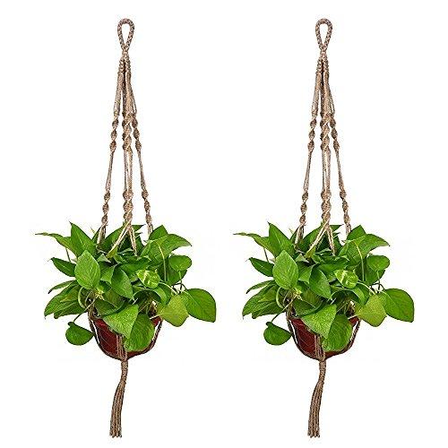 "UPC 737590669859, 2pcs/set Vintage Plant Hanger Macrame Jute 4 Leg 40"" for Indoor Outdoor Ceiling Deck Balcony Round and Square Flower & Plant Pots (2, Jute)"