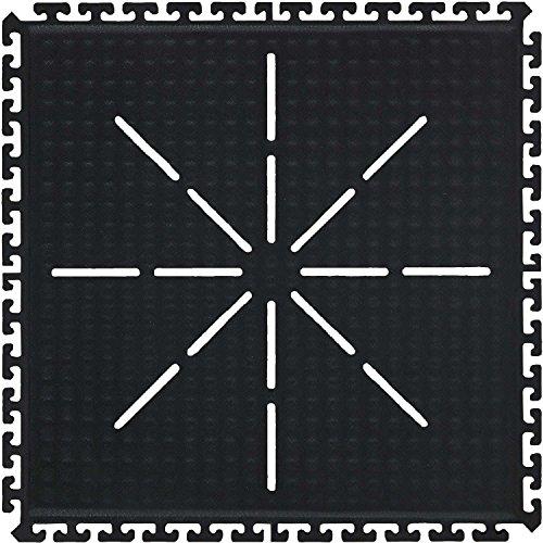 Drainable Mat (Hog Heaven II Modular Traffic Anti-Fatigue Corner Drainable Tile, Black, 36