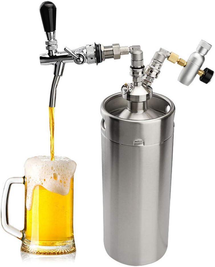 Dispensador de cerveza de acero inoxidable de 3.6L, kit de sistema de barril de cerveza Mini regulador de CO2 de 128 oz, grifo de cerveza ajustable para cerveza artesanal, cerveza de barril y cerveza