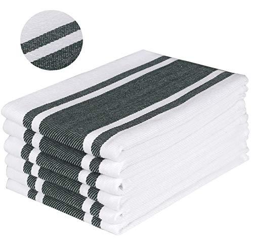 (Ramanta Home Kitchen Towels & Dishcloth Sets, 100% Cotton Kitchen Dishcloths, Dish Towel & Tea Towels, Stripes - 18x28 - Set of 6 - Superior Professional Grade, Multi Purpose - Hunter Green)