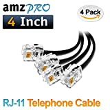 (4 Pack) 4 Inch Short Telephone Cable Rj11 Male to Male 4'', Phone Line Cord (black)