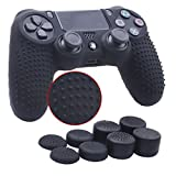 YoRHa Studded Silicone Cover Skin Case for Sony PS4/slim/Pro controller x 1(black) With Pro thumb grips x 8