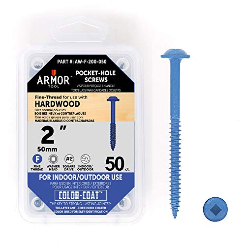 (Armor Tool 2″ Fine-Thread Pocket Hole Screws- 50 Package)
