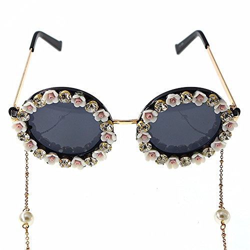 Ybriefbag Lady Retro Eyeglasses Ornament Romantic Pink Rose Handmade Metal Gold Flower Baroque Sunglasses for Women Crystal Eyewear Retro Style Tassel Chain Sunglass Replacement (Flower Glass Ornament)