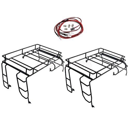 RC Crawler 1:10 Metal Roof Rack / Luggage Carrier for D90 +RC Car LED Light by uptogethertek