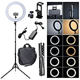 Fotoconic 80W 18 Inches / 48cm Bi-color Dimmable LED Ring Light with 6 feet Stand and 2in1 Tablet and Phone Holder for Studio Video for Photo Video Portrait Selfie Photography