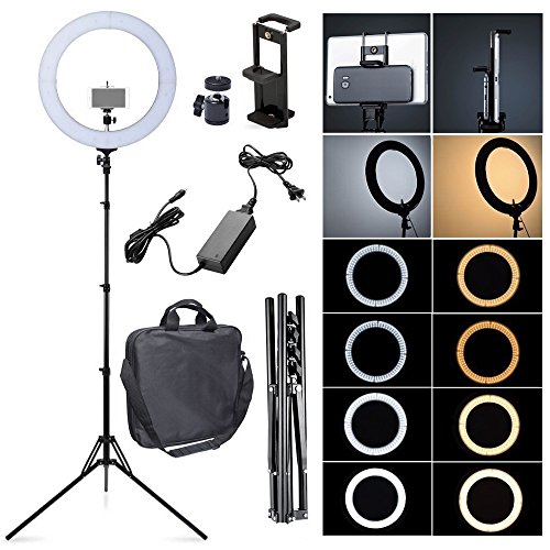 Fotoconic 80W 18 Inches / 48cm Bi-color Dimmable LED Ring Light with 6 feet Stand and 2in1 Tablet and Phone Holder for Studio Video for Photo Video Portrait Selfie Photography by fotoconic