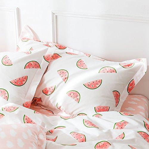 AMWAN Pink Watermelon Print Cotton Pillowcases Set of 2 Kids Queen Decorative Pillow Shams for Children Teens Modern Pillow Covers Standard Queen Pillowcases, Envelope Closure, (2 Pieces, 20''×26'') by AMWAN