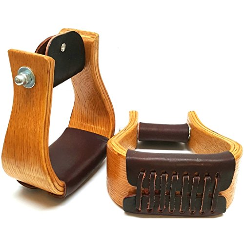 5-1/2″ (Wide) Extra Large Premium Oak Stirrups With Leather Tread-Western Saddle Stirrups-Roping Stirrups-Western Saddle