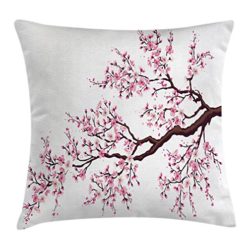 Japanese Throw Pillow Cushion Cover by Ambesonne, Branch of a Flourishing Sakura Tree Flowers Cherry Blossoms Spring Theme Art, Decorative Square Accent Pillow Case, 18 X 18 Inches, Pink Dark Brown (Branch Pink Cherry Blossom)