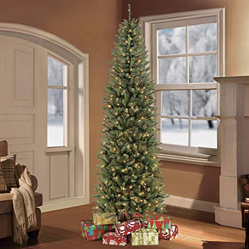 7.5 Ft Fraser Fir Pencil Christmas Tree with 350 UL Listed Clear Lights and Full Lush Branches