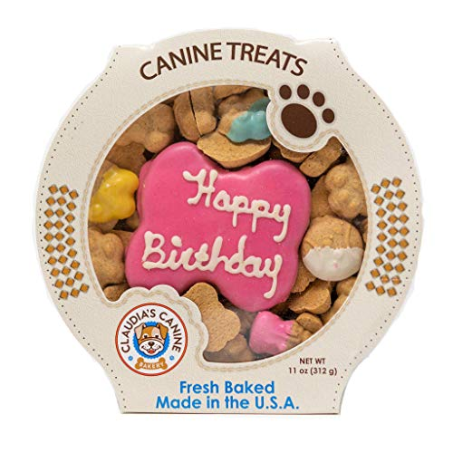 Claudias Canine Bakery | Peanut Butter Flavor, Gourmet Dog Treats | No Preservatives, No Animal by-Products, No Fillers | Made in The USA | Net Wt. 11 oz | Happy Birthday Pink Assortment -