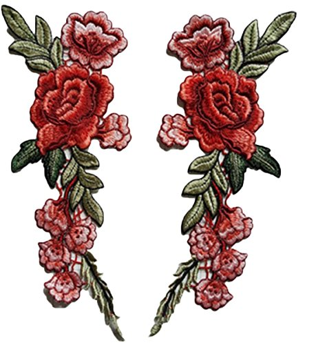 Special100% 2 Pcs Red Rose Flowers Sew On Patches Embroidery Floral Applique Collar Patches Badge Embroidered Flower applique For Craft, Sewing, Lace Fabric Clothes DIY Craft Supply (Sew Fabric Flowers)