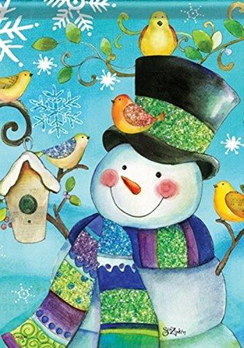 Garden Flag, Glitter Snowman