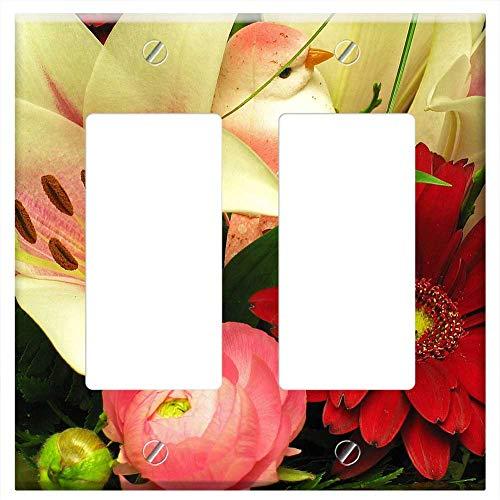 Switch Plate Double Rocker/GFCI - Bouquet Ranunculus Gerbera Lily Spring Flower Vase