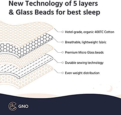 GnO Weighted Blanket & Bonus Organic Bamboo/Wool Duvet Cover (15 Lbs - 60''x80'' - Queen Size) - 100% Organic Cotton Heavy Blanket for Adult & Micro Glass Beads - Designed in USA - Navy/White