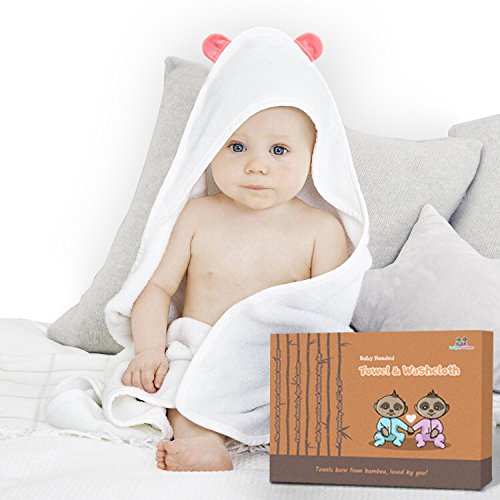 "Premium Bamboo Hooded Baby Towel With Bear Ears & Washcloth Set for Infants and Toddlers| 100% Organic Bamboo| Higly Absorbent and Soft| Large 35"" x 35"" 