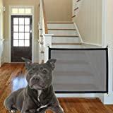 ABenkle Magic Gate for Dogs, Baby Gates Pet Safety Gate, Stretchy Pet Mesh Barrier, Portable Magic Mesh Gate, Safe Guard Install Anywhere, Safety Fence for Hall Doorway Stair Wide Tall 43.3 x 28.3