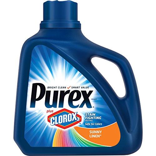 Purex Liquid Laundry Detergent plus Clorox2 Stain Fighting Enzymes, Sunny Linen, 128 oz (71 loads) - Bleach Liquid Laundry Detergent