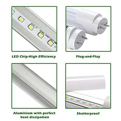 Shanhai T8 T10 T12 led florecent tube replacement, 4ft, 40W (90W equivalent), 6000K 3600 lumen lights bulbs, Frosted Cover, Dual-ended Power, Energy Saving Fluorescent Replacement bulbs ,25-Pack by Shanhai (Image #4)