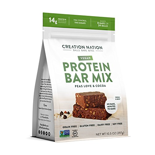 Creation Nation  PROTEIN BAR MIX - Vegan, Peas Love & Cocoa - Makes 8 Bars! - No Bake & Easy as a Protein Shake - 12-14g Protein/Bar - Gluten & Grain Free