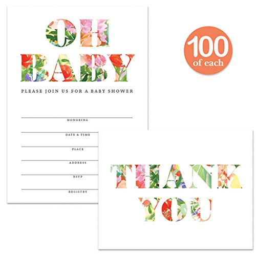 Baby Shower Invitations ( 100 ) & Matching Thank You Cards Set ( 100 ) Envelopes Included, Large Party Celebration Gender Neutral Write-in Guest Invites & Folded Blank Thank You Notes Best Value Pair by Digibuddha