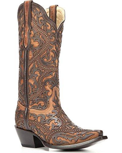 Snip Boot Women's Toe CORRAL Full G1309 Brown Overlay Fwq8cTITSz