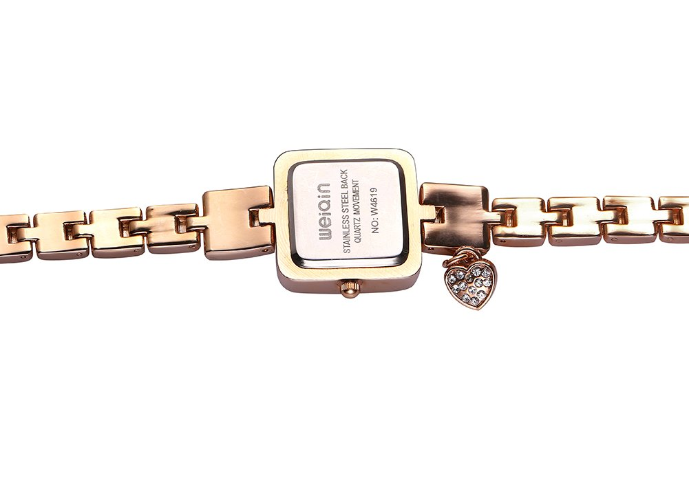 AStarsport Women Ladies Classical Casual Cute Square case Shell Dial with Rhinestone Love Pendant Women's Dress Watches Fashion Wrist Watch Rose Gold Silver by Astarsport (Image #3)