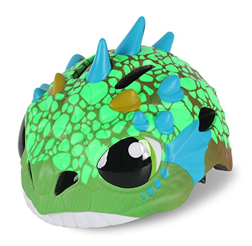 Zjoygoo Cute Dinosaur Helmet Blue Green Orange Toddler Kids Children Multi-Sport Outdoor Light-Weight Cycling Bike Safety Helmet Cute Head Protective Gear Adjustable Dial Boys Girls Age 3-4 5-7