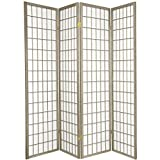 Oriental Furniture 6 ft. Tall Window Pane - Special Edition - Grey - 4 Panels