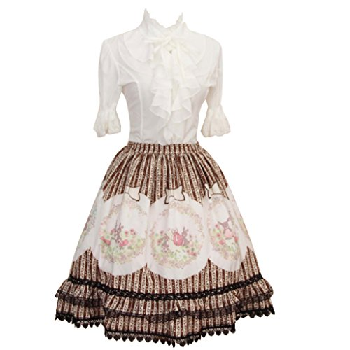 [Hugme Brown Polyester Lace Ester-Rabbit Printed Lolita Skirt] (Rabbit Costume Pattern)