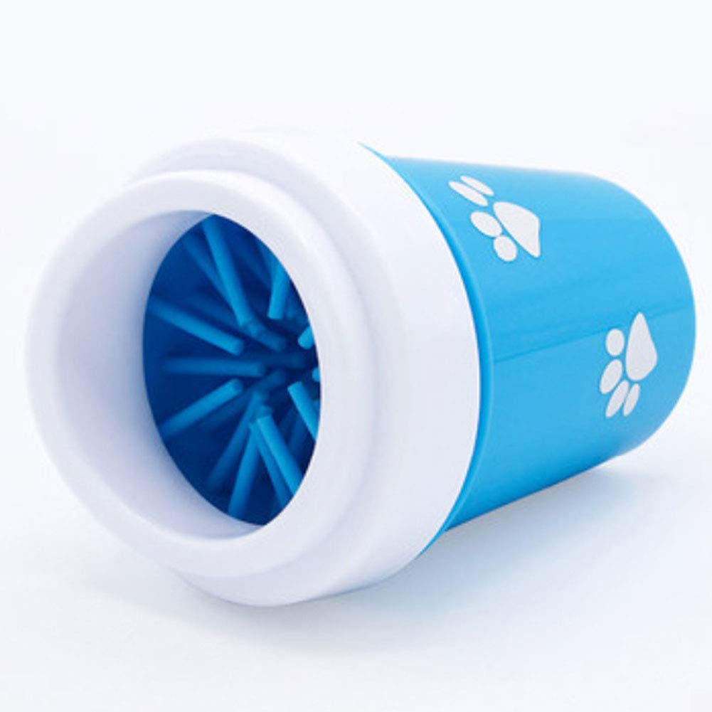 Portable Pet Foot Washer Brush Cup with Silicone Bristles for Muddy Paws Great for Active Dogs,Blue,L