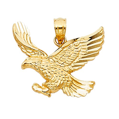14K Yellow Gold Eagle Pendant (Height 17 MM Width 21 (14k Gold Eagle Pendant)